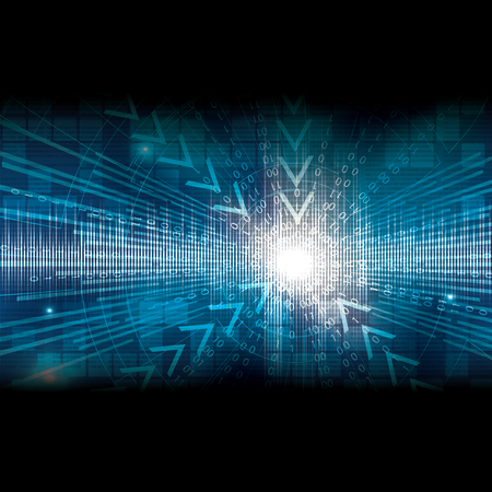 frid: Abstract tech binary blue background Illustration