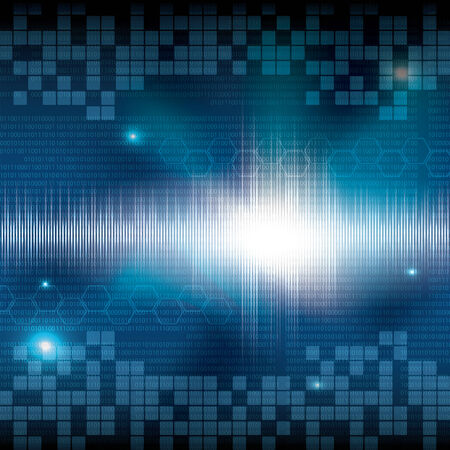 Abstract tech binary blue background Illustration