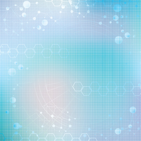 Abstract molecule blue green light colors background  Illustration