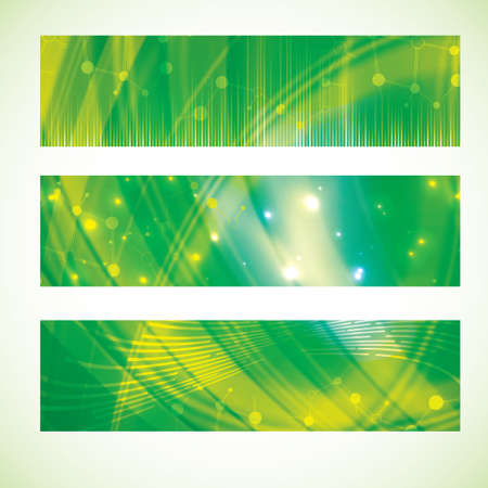 Abstract molecule banner set green yellow abstract colors Stock Vector - 27455556