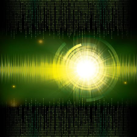 computer program: Abstract tech binary green background