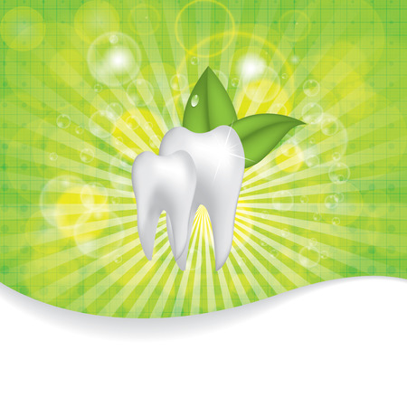 Abstract vector dental illustration of teeth template brochure green Vector