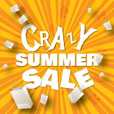Crazy summer sale design template   Vector