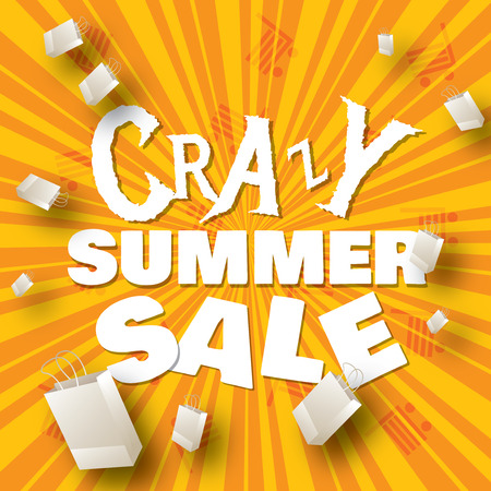 Crazy summer sale design template   Vector