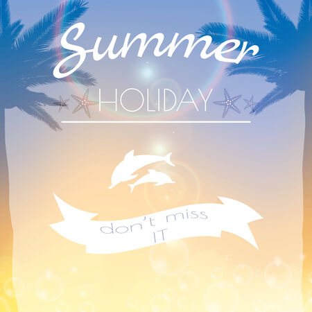 Summer holiday creative poster sunset background Vector