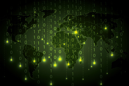 frid: Abstract tech binary green global background