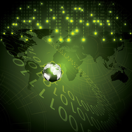 global background: Abstract tech binary green global background