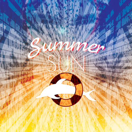 Soleil d'�t� de vacances affiche cr�ative coucher de soleil fond