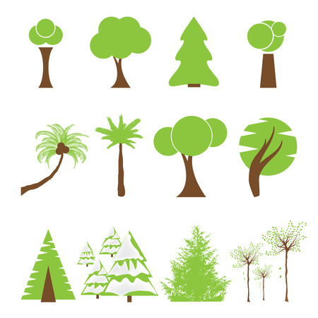 pine tree silhouette: Set of different kind of tree icons