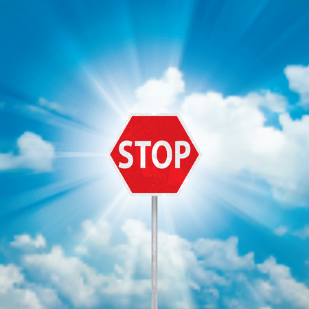 Stop Sign and blue sky with clouds and sun ray Vector