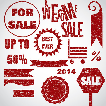 Awesome sale red text objects sign icons collection retro style Vector