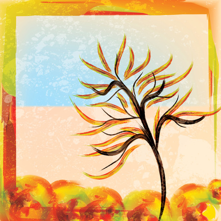 changing colors: Autumn watercolor background with tree bright colors