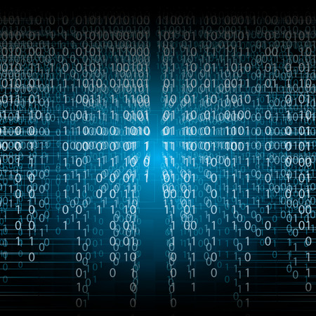 Abstract tech binary blue background Stock Illustratie