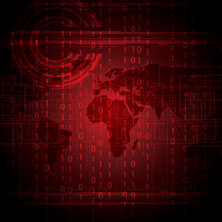 frid: Abstract tech binary red global background   Illustration