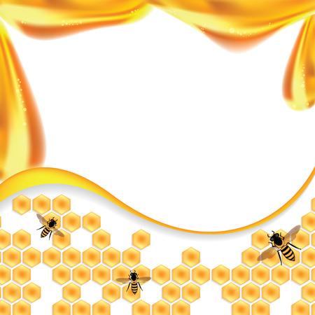 甘い蜂蜜の図は、オレンジ色の背景