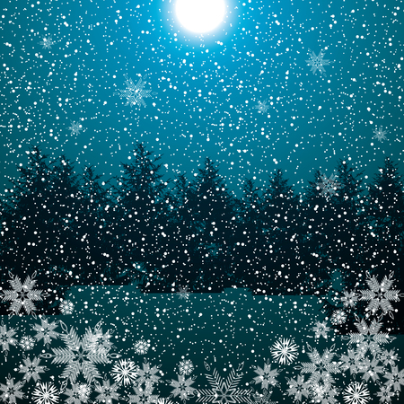 magical forest: Dark night winter forest blue color background with falling flakes