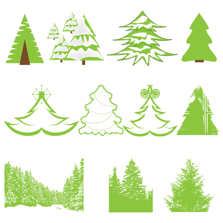 Set of Christmas winter pine tree and forest Vector