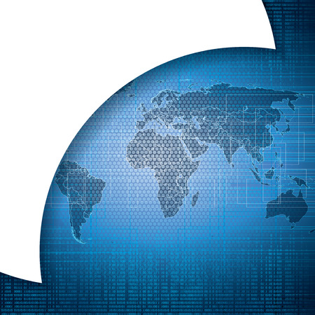 frid: Abstract tech binary blue global background