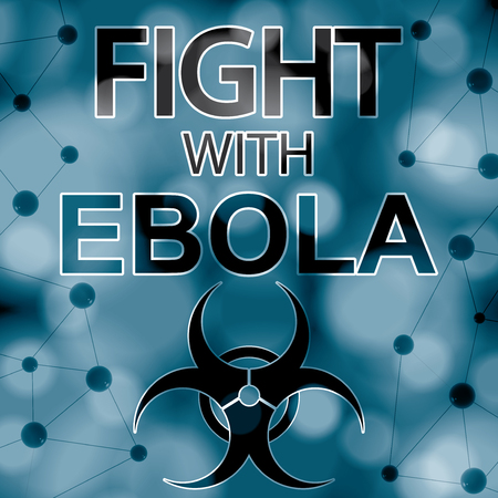 pandemia: Fight with ebola message with molecules blue abstract background