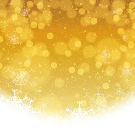 greeting card background: Abstract winter golden snowflakes background