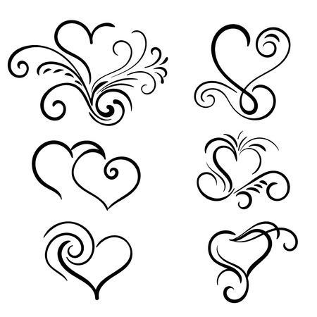 14 february: Hand drawn vector swirl heart elements