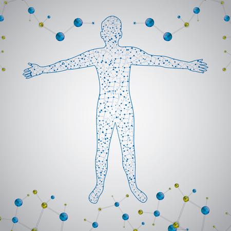 Corpo umano illustrazione vettoriale astratto uomo Molecola Archivio Fotografico - 35293056