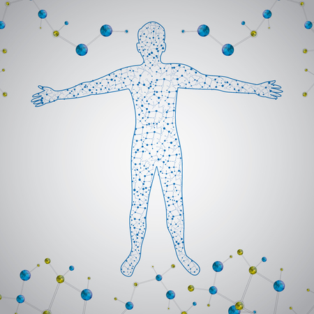 Molecule man human body abstract vector illustration
