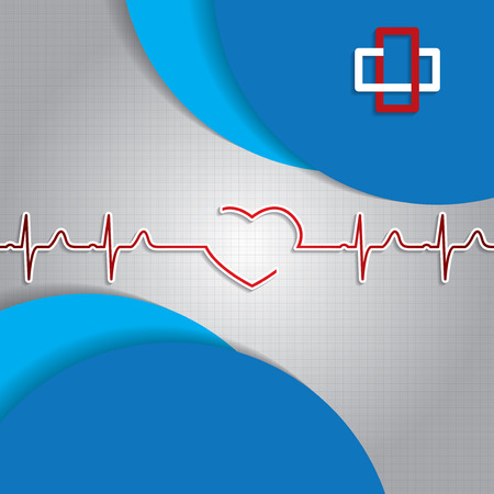 Abstract medical heartbeat sign blue background Vector