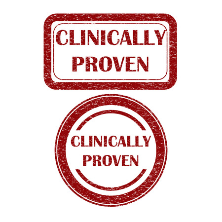 proven: Grunge clinically proven dark red sign Illustration