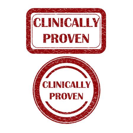 clinically: Grunge clinicamente dimostrato segno rosso scuro Vettoriali