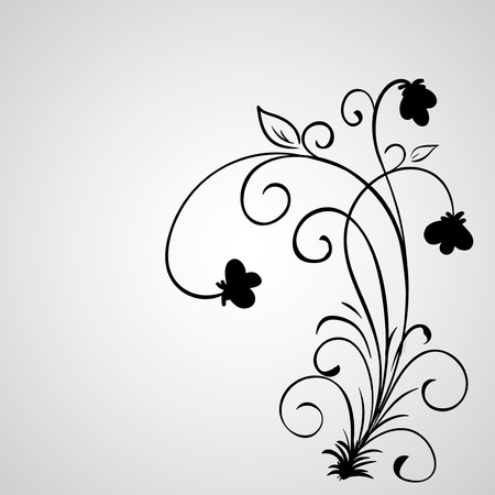 swirl design: Hand drawn vector swirl flower elements