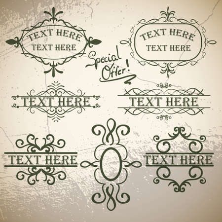 green brown: Calligraphic vintage elements on old paper green brown background Illustration