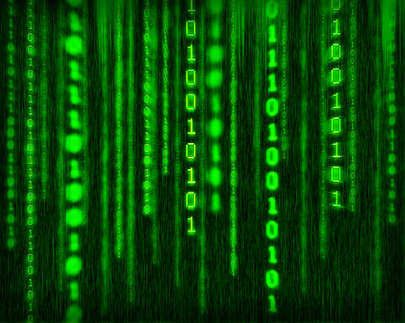 Abstract tech binary green background