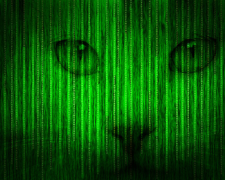 Abstract tech binary green cat background