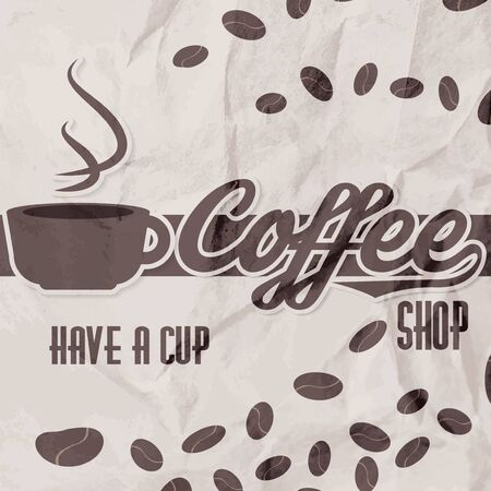 Vector illustration of a retro vintage coffee shop crumpled paper brochure illustration