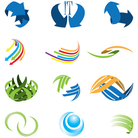 green medical sign: Set of different kind of abstract icon symbol Illustration