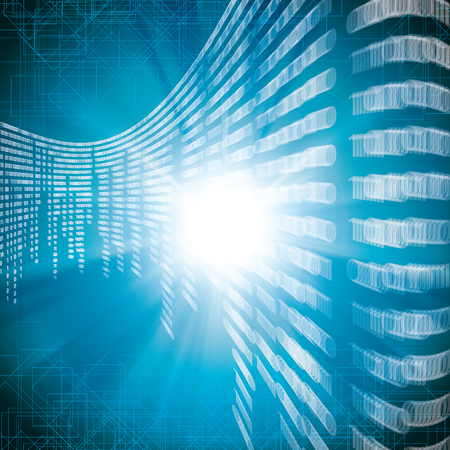 Abstract tech blurry binary blue background Illustration