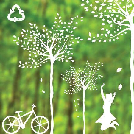 jungle jumping: Vector Brochure Layout Design Template green environmental Illustration