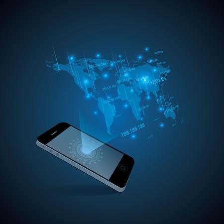 holographic: Hologram style futuristic design blue background illustration