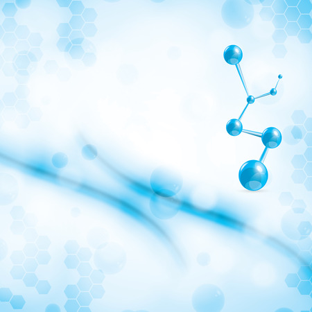 Abstract molecule blue light colors background
