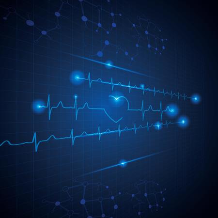 tętno: Streszczenie tle kardiologii medycznych ekg Ilustracja