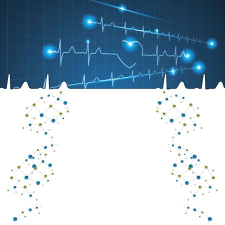 electrocardiograph: Abstract medical cardiology ekg background  brochure Illustration