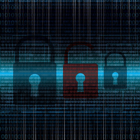 Abstract tech binary security blue background Illustration