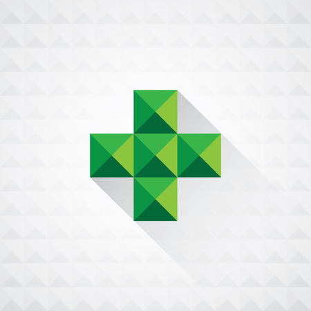 medical cross: Abstract medical green sign with seamless geometric shapes