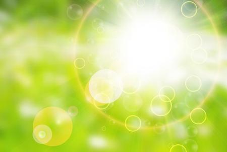 日当たりの良い抽象的な太陽線背景緑  イラスト・ベクター素材