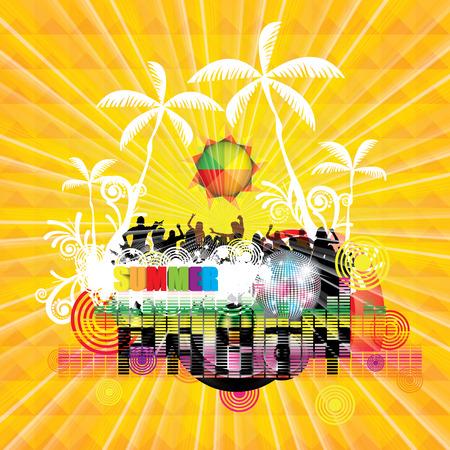 Summer beach Party flyer design illustration