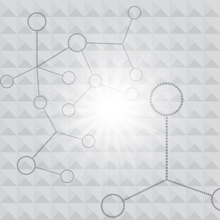 atomic structure: Abstract molecule silver background Illustration