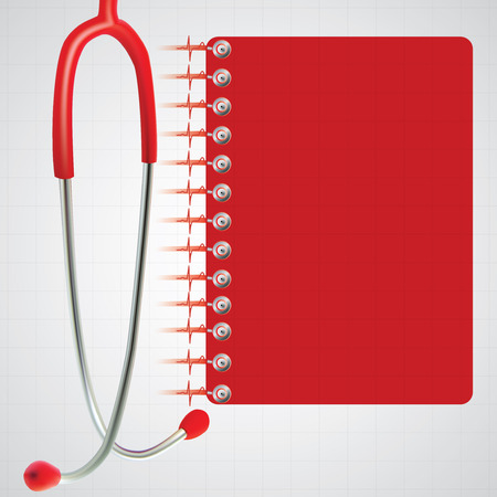 estetoscopio: Estetoscopio folleto ilustración vectorial rojo Médico Vectores