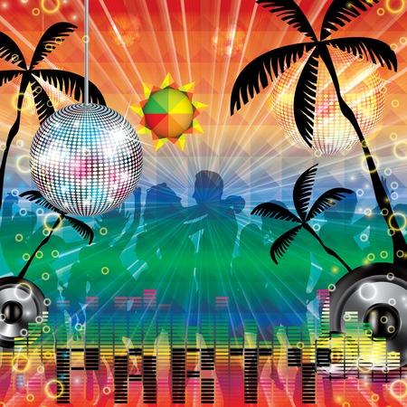 nightclub flyer: Summer beach Party flyer design illustration
