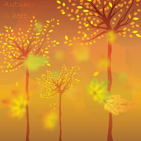 falling leaves: Autumn background with trees and falling leaves Illustration